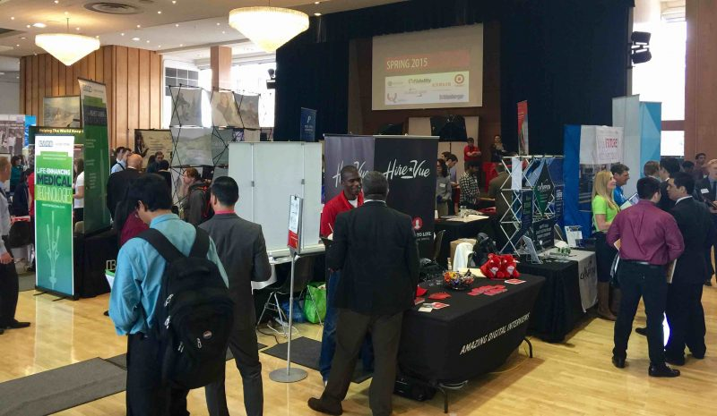 Business students attend the University of Utah Career Fair.