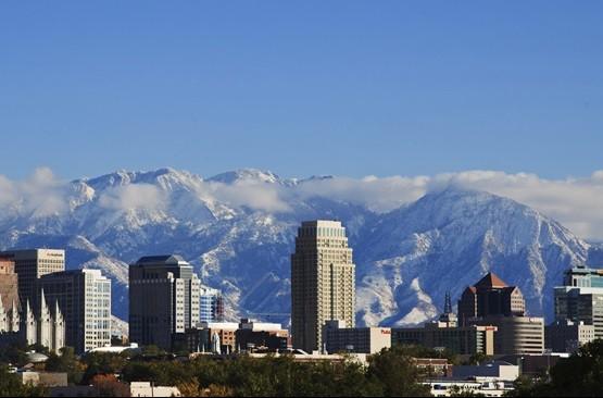 Salt Lake City, Utah skyline from 600 North
