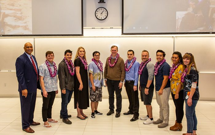 The Opportunity Scholars program lived up to its name at this year's luau, giving students the chance to meet Congressman-elect Ben McAdams.