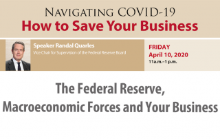 Randal Quarles speaks during Navigating COVID-19 forum